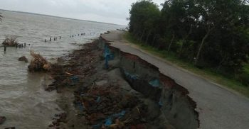 In Dashmina, a road worth Tk 10 crore sank in the Tentulia river